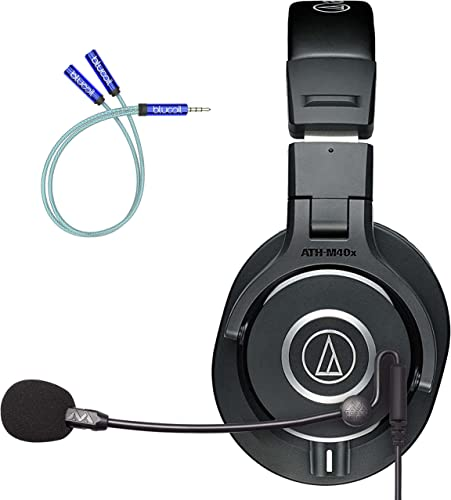 new arrival Audio Technica ATH-M40x Professional Studio Monitor Headphones with 90 Degree Swiveling Earcups Bundle with Antlion Audio ModMic Uni with Mute Switch, and Blucoil Y Splitter for Audio & outlet sale outlet online sale Mic outlet sale