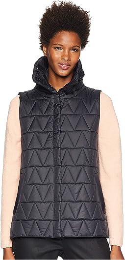 Chevron Recycled Nylon High Stand Collar Vest