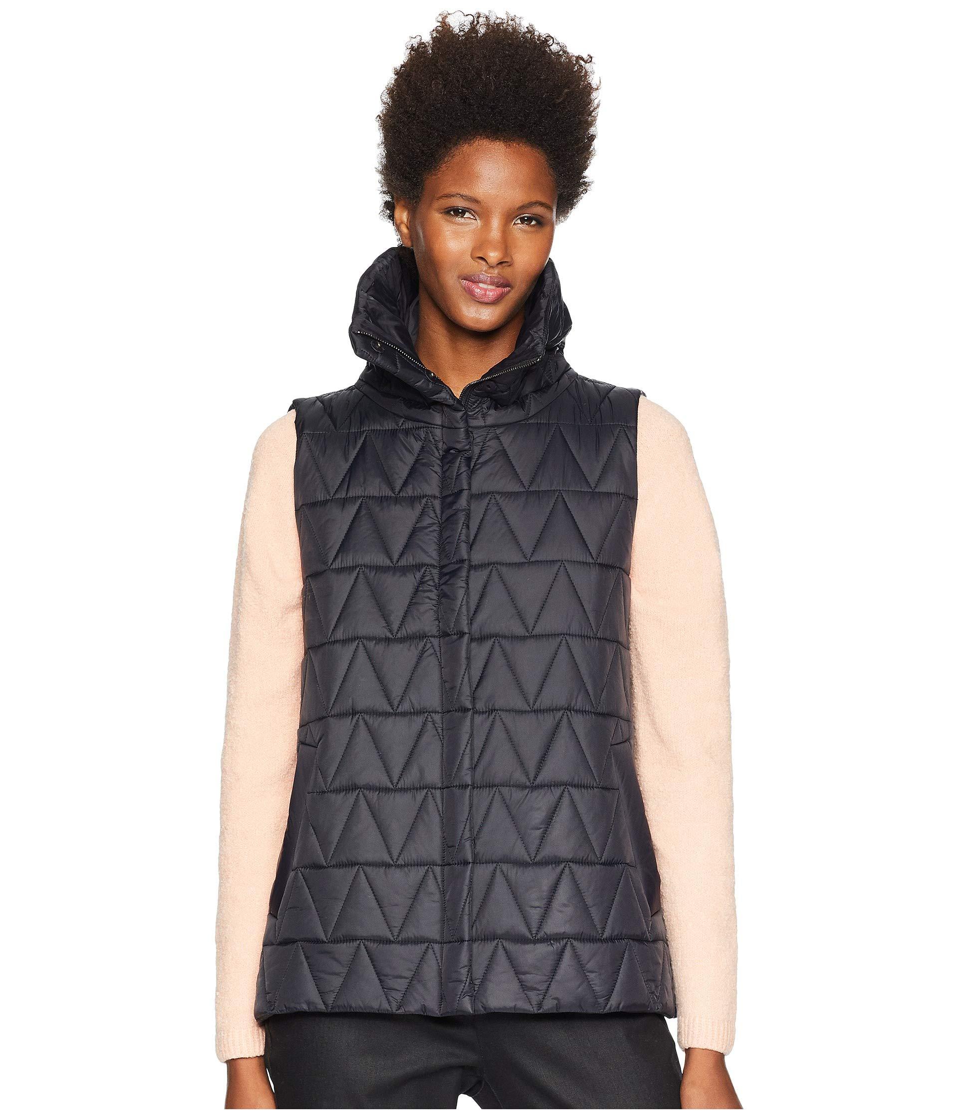 a650e8e9f47f High Black Chevron Eileen Fisher Stand Collar Vest Nylon Recycled x8wIwqH