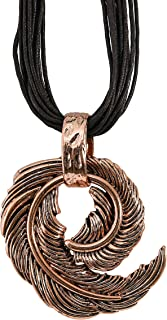 MOONSTONE Fashion Accessories for Women, Ladies Statement Circular Feather Metal Brass Textured Leather Pendant Necklace