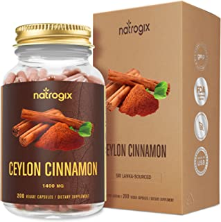 Natrogix Ceylon Cinnamon Capsules 200 VCaps 1400mg/ Serving - Maximum Strength Cinnamon Supplements - Great Antioxidant - Helps Balance Blood Sugar Level, Supports Heart Health - Packaging May Vary
