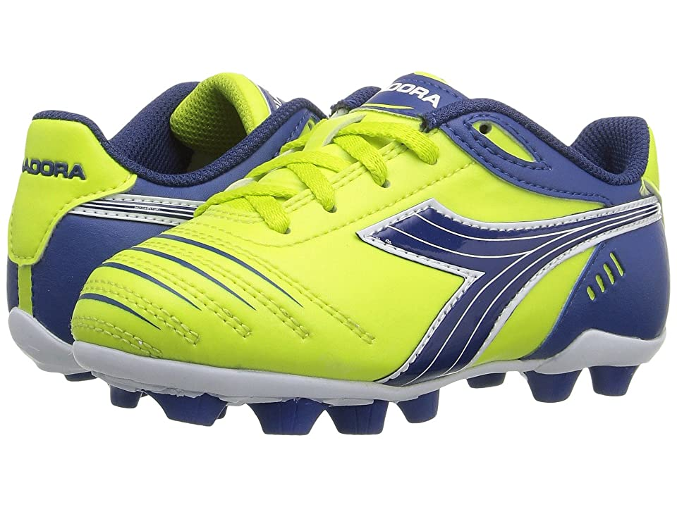 Diadora Kids Cattura MD JR Soccer (Toddler/Little Kid/Big Kid) (Lime Green/Dark Royal) Kids Shoes