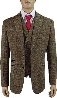 Cavani Mens Wool Mix Tweed Checked Blazers Waistcoats Trouser 3 Piece Suits