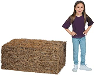 Fun Express Collapsible Faux Hay Bale (Over 3 feet and Easy Storage) Fall Decor