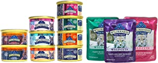 Blue Buffalo Wilderness Cat Food Variety Sampler Box - 12 Items - 4 Classic Flavors, 3 Wild Delights Flavors, 2 Rocky Mountain Recipe Flavors, & 3 Wild Cuts Tasty Toppers Pouch Flavors - 3 oz Each