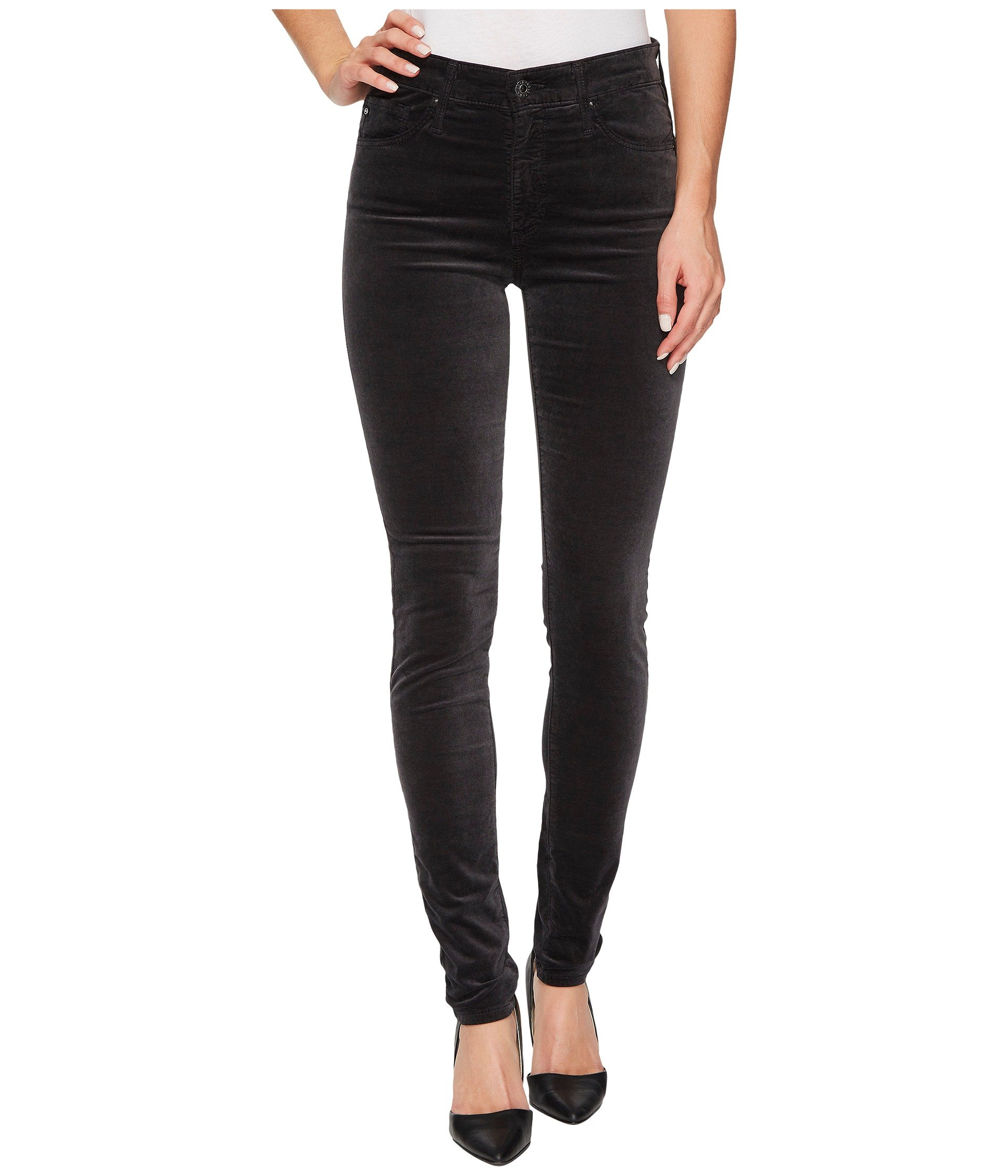 'Prima' Mid Rise Cigarette Jeans (Super Black) in Rich Mercury