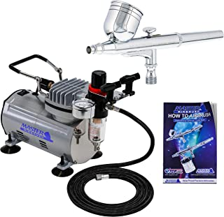 Master Airbrush Multi-purpose Gravity Feed Dual-action Airbrush Kit with 6 Foot Hose and..