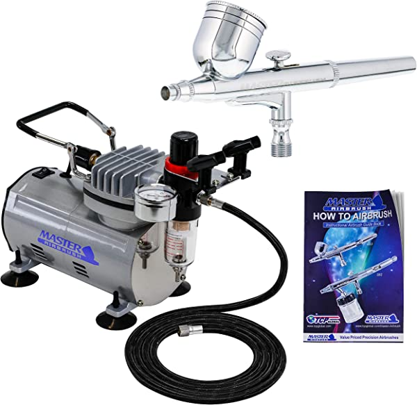 Master Airbrush Multi Purpose Gravity Feed Dual Action Airbrush Kit With 6 Foot Hose And A Powerful 1 5hp Single Piston Quiet Air Compressor