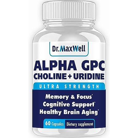 Alpha GPC 600mg + Uridine, a Choline Enhancer. Better Than Alpha-GPC or Uridine Аlone. Best Alpha GPC Choline: 2in1, Soy Free, No Fillers, USA. Best Choline Form, 60 Pills, Money Back Guarantee