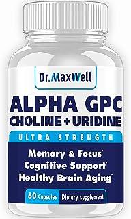 Alpha GPC 600mg + Uridine, a Choline Enhancer. Better Than Alpha-GPC or Uridine Аlone. Best Alpha GPC Choline: 2in1, Soy F...