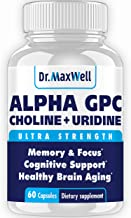 New Alpha GPC Choline Supplement with Uridine, a Choline Enhancer. Best Choline Form, Better Than Alpha GPC or Uridine Аlone. Soy Free, No Fillers Stearates. USA Made, 60 Pills, Money Back Guarantee