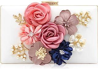 Milisente Damen Clutch Tasche Blumen Abendtasche Hochzeit Bag Elegante Handtasche (Weiß)