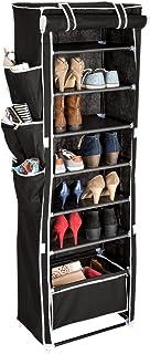 TecTake Armario de zapatos de tela lona zapato zapatero gabinete de 7 niveles y 1 cesta colgante | para 12 pares de zapatos | 50 x 162 x 33cm | -disponible en diferentes colores- (Negro | no. 402536)