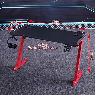 RGB Gaming Desk Home Office Carbon Fiber Led Lights Game Racer Computer PC Table Z-Shaped Red 120cm