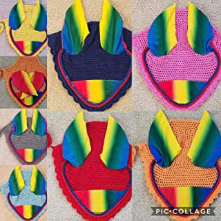 Lift Sports Rainbow Horse Fly Bonnet Ear Net Fly Veil Hood Mask Hand Made Crochet Protect Flies Cotton Stretchable Ears