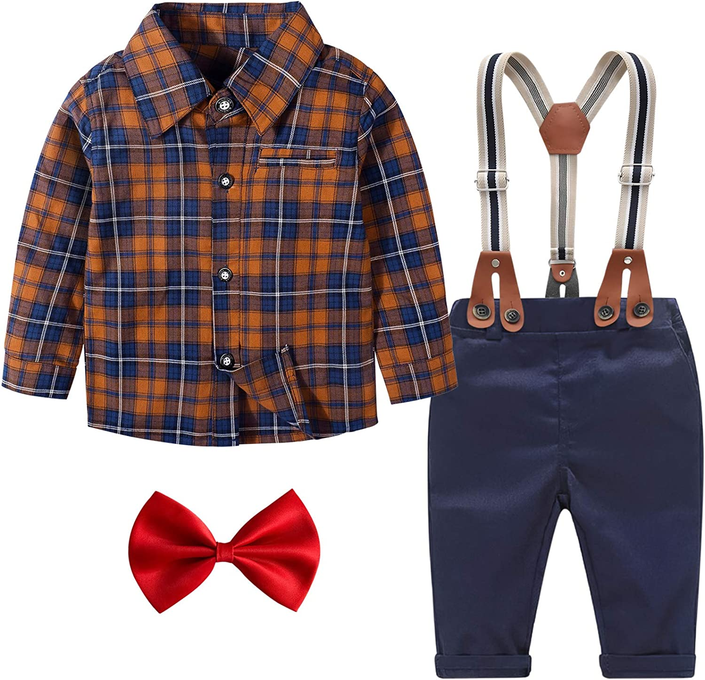 Baby Boy Clothes Set Newbo 4pcs New York Mall Shirt+Bowtie+Suspender Pants Max 56% OFF