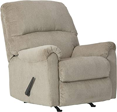 Benjara Fabric Upholstered Rocker Recliner with Tufted Back and Pillow Arms, Beige