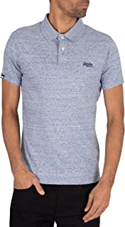 Superdry Men's Orange Label Jersey Polo Shirt, Blue