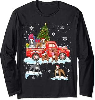 Christmas Dog On Red Car Pit Bull Truck Christmas Tree Long Sleeve T-Shirt
