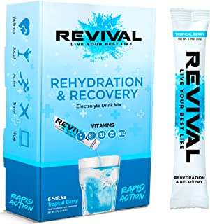 Revival Rapid Rehydration, Electrolytes Powder - High Strength Vitamin C, B1, B3, B5, B12 Supplement Sachet Drink, Efferve...