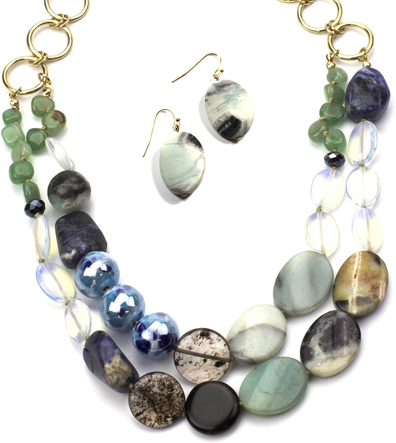 Womens Jewelry Genuine Sodalite, Amazonite, Crysolite (Olivine) Mixed with Glass Beads Create This Hand Crafted Necklace (18