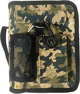 Camo Bible Cover for Men with Compass Carabiner Camouflage Book Covers for Women Case