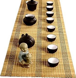 Tea Ceremony - Kung Fu Tea Set Mat Natural Bamboo Tablemat Slat Handmade Bamboo Sticks Decor Placemat Tea Table Runner 12 by 47-Inch, Yellow