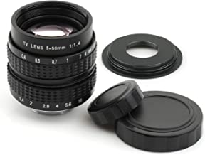 Pixco 50mm F1.4 CCTV Lens for C Mount Camera + 16mm C Mount Film Lens to Micro Four Thirds 4/3 Micro 4/3 Camera Lens Adapter