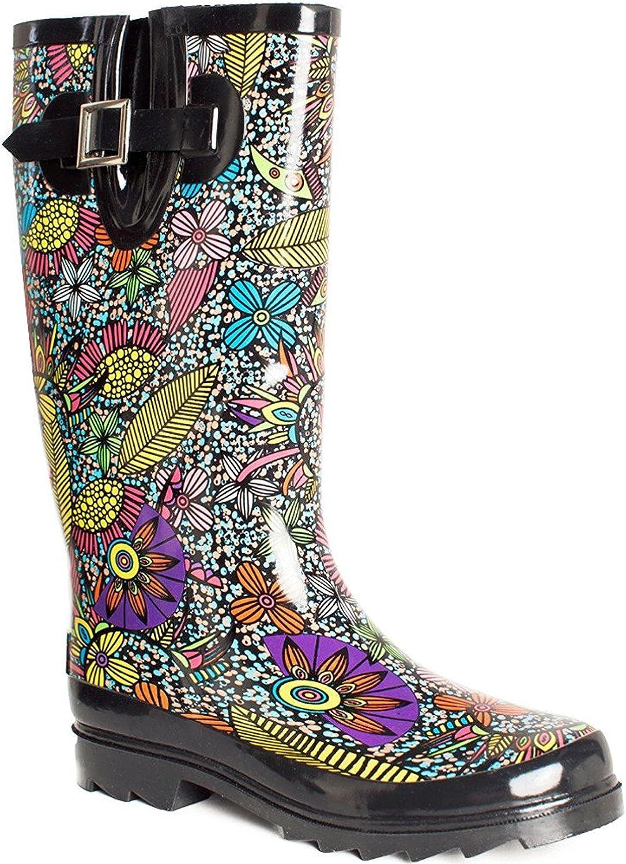 Women's Waterproof Rubber Mid Calf Tall Rain Boots Garden shoes Floral Printed