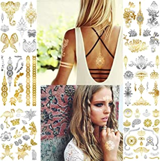 Magicfly Metallic Temporary Tattoos Gold Flash Henna Body Tattoos Stickers for Women Teens Girls Kids 6 Sheets for Festival Wedding Party Over 80 Tats (SET 1)