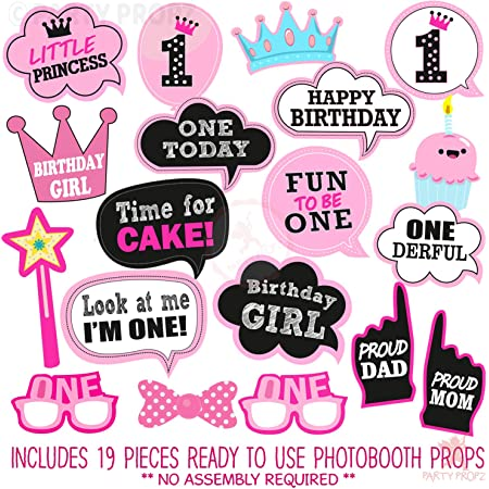 Party Propz Girls First Birthday Photo Booth Props-19Pcs(Pink Color) for 1st Bday Theme Supplies/Girl Baby Kids Combo Decorations Items/Cake Smash/High Chair,Babies Room Decor/Sticks Attached Props