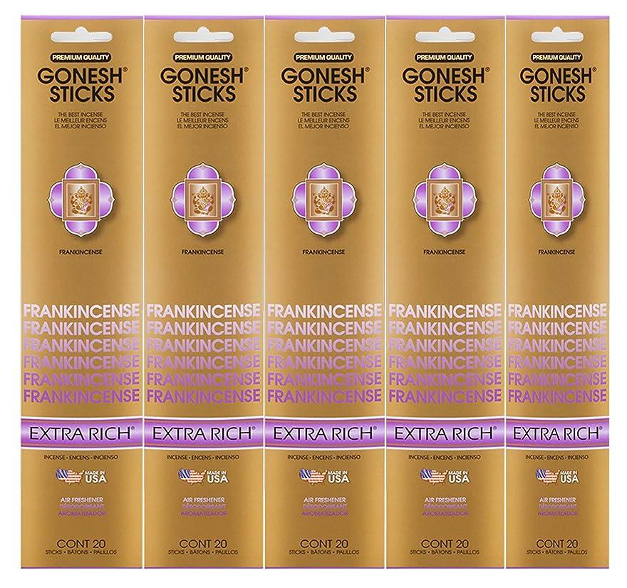 上流のビットフリルGonesh Incense Sticks Extra Richコレクション?–?Frankincense 5パック(合計100?)