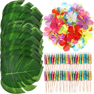 Shappy 98 Pieces Hawaiian Luau Theme Party Decorations, Including 24 Pieces Tropical Palm Leaves, 24 Pieces Luau Flowers and 50 Pieces Multi-Color Umbrellas