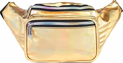 SoJourner Holographic Rave Fanny Pack - Packs for festival women, men | Cute Fashion Waist Bag Belt Bags (Gold)