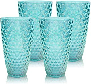 Laguna Beach Tall Tumbler Blue Shatterproof Tritan Drinking Glasses, Set of 4 - Unique Plastic Tumblers - Unbreakable Glassware for Indoor and Outdoor Use - Reusable Drinkware, BPA Free, FDA Approved
