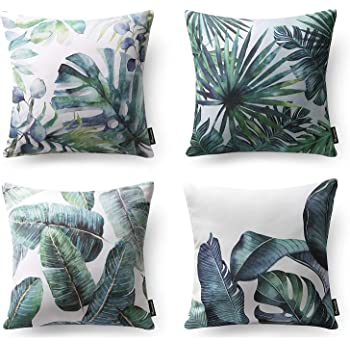 Amazon Com Phantoscope Set Of 4 Tropical Palm Leaves Plant Printed Throw Pillow Case Cushion Cover Dark Green 18 X 18 Inches 45 X 45 Cm Home Kitchen Natural and simple living room decor. phantoscope set of 4 tropical palm leaves plant printed throw pillow case cushion cover dark green 18 x 18 inches 45 x 45 cm