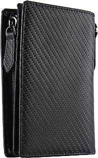 [レガーレ] 財布 メンズ 二つ折り財布 L字ファスナー付き 大容量 本革 カーボンレザー