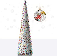 YuQi 5' Snow Sequins Decorated Pop-Up Artificial White Christmas Tree,Collapsible Pencil Christmas Trees for Apartments,Do...