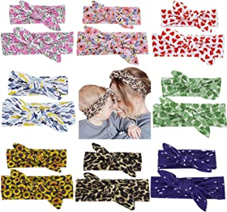 Cinaci 16 Pack/8 Set Floral Print DIY Parent-child Mom Baby Girl Toddlers Rabbit Ear Bow Headbands Hair Accessories