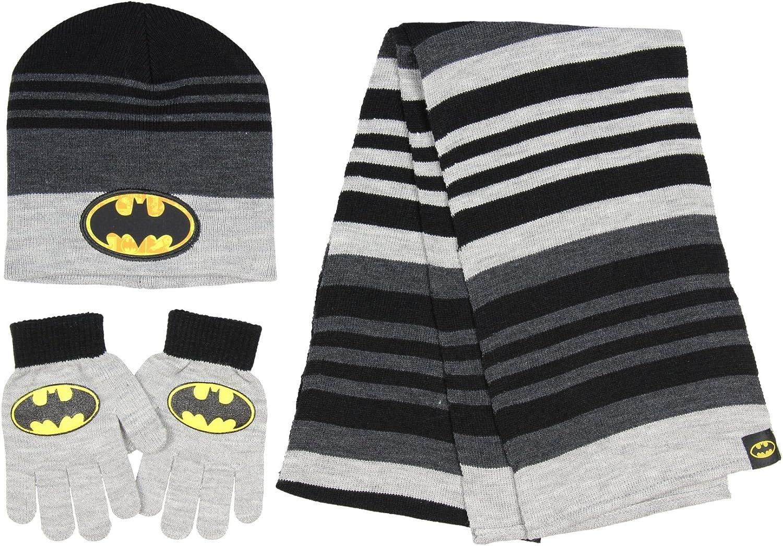 Batman DC Comics Boys Winter Super Outstanding sale period limited 3pc and Scarf Gloves Set Black Hat