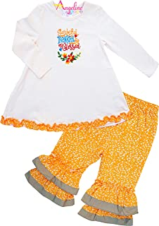 Fall Winter Holidays Girls Thanksgiving's Day Turkey Outfits - Skirt or Pants or Tunic Set