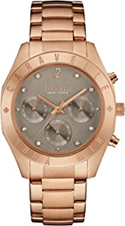 Caravelle New York 44L190 Rose Gold Tone Gray dial Etched Bezel Watch