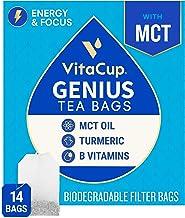 VitaCup Genius Chai Tea Bags 14ct w/ KETO MCT Oil, Turmeric, Cinnamon, & Vitamin for Energy and Focus in Sealed Single Ser...