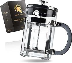 Barista Legends® French Press glas med rostfritt stål kropp – 800 ml (4 koppar) kaffepress med 4-vägs filtersystem – filte...