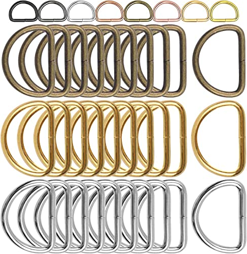 DIY Crafts Metal D Ring Semi Circular D Ring for Hardware Bags Ring for DIY Accessories Jewellry Bags Wallets and Luggage Making Multi Use 5 Pcs Black