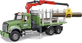 Bruder 02824 MACK Granite Timber Truck with Loading Crane and 3 Trunks
