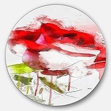 """Designart Red Rose Sketch Splashes-Floral Metal Artwork-Disc of 11, 11"""" x 11"""""""