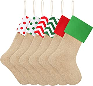 Sumind 6 Packs Burlap Christmas Stockings for Christmas Decorations or DIY (Multiple Colors)