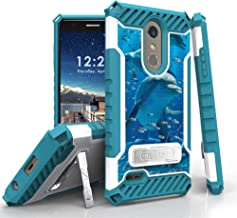 Military Grade Shockproof Hybrid Cover Dual Layered Case w/Kickstand Compatible with LG K30 (X410) / K10 2018 / Premier Pro (L413DL) / Phoenix Plus/Harmony 2 / Xpression Plus - Dolphins