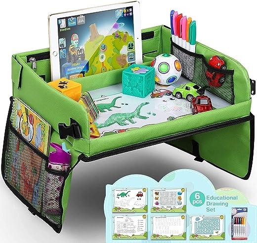 lenbest Kinder Reisetisch Kindersitz Spiel, Lernspielzeug für den Innenbereich mit 1 Transparenter Zeichnungsfilm + 5 Zeichenpapier + 6 Farbstifte...